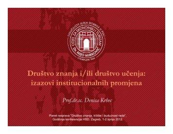 Društvo znanja i/ili društvo učenja: izazovi institucionalnih promjena