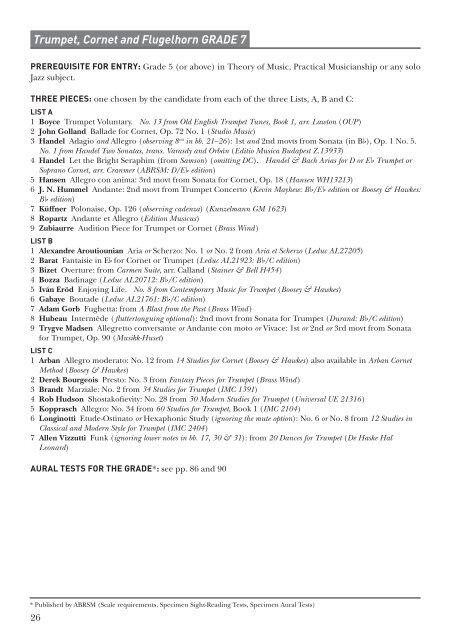 Trumpet, Cornet and Flugelhorn GRADE 7 - ABRSM