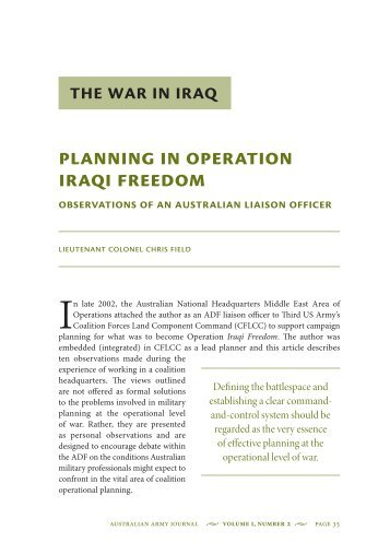 Planning in Operation Iraqi Freedom ... - Australian Army
