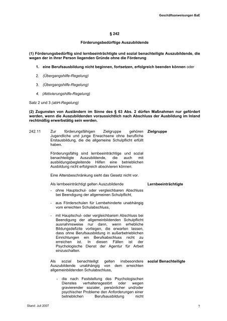 Geschäftsanweisung BaE 07/2007 (pdf)