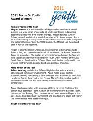 2011 Focus On Youth Award Winners - City of Mount Pearl