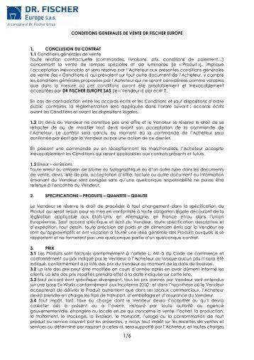 CONDITIONS GENERALES DE VENTE DR FISCHER EUROPE
