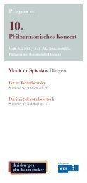 10. Philharmonisches Konzert - Die Duisburger Philharmoniker