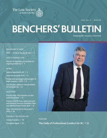 Benchers' Bulletin, Winter 2012 - The Law Society of British Columbia