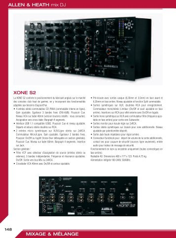 ALLEN & HEATH mix DJ MIXAGE & MÉLANGE XONE S2 - Audiopole