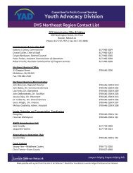 DYS Northeast Region Contact List - the Youth Advocacy Division