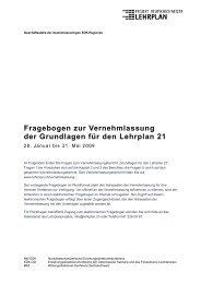 Fragebogen zur Vernehmlassung der Grundlagen für ... - Lehrerinnen