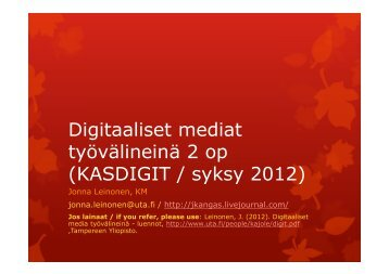 Digitaaliset oppimisympäristöt - Tampereen yliopisto