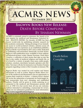 Bagwyn Books New Release - Arizona Center for Medieval and ...
