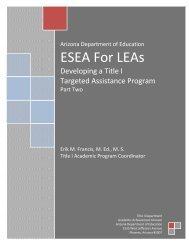 ESEA For LEAs - Arizona Department of Education