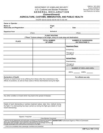 U.S. Customs and Border Protection EXPIRATION ... - cbp.gov