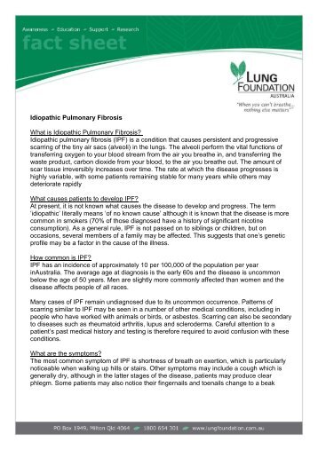 Idiopathic Pulmonary Fibrosis What is Idiopathic ... - Lung Foundation