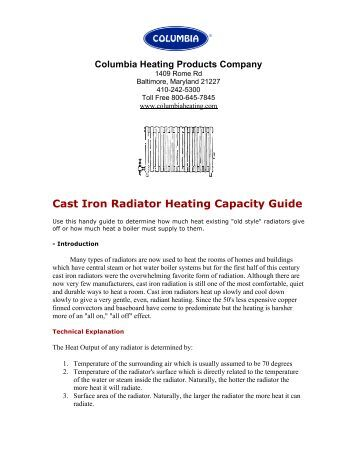 Sizing Cast Iron Radiator Heating Capacity Guide - Columbia Heating