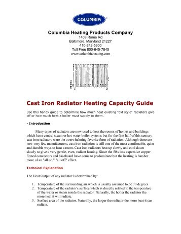 Sizing Cast Iron Radiator Heating Capacity Guide - Columbia Heating