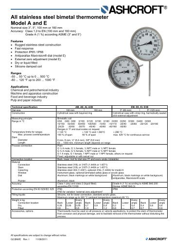 All stainless steel bimetal thermometer Model A and E - Ashcroft ...