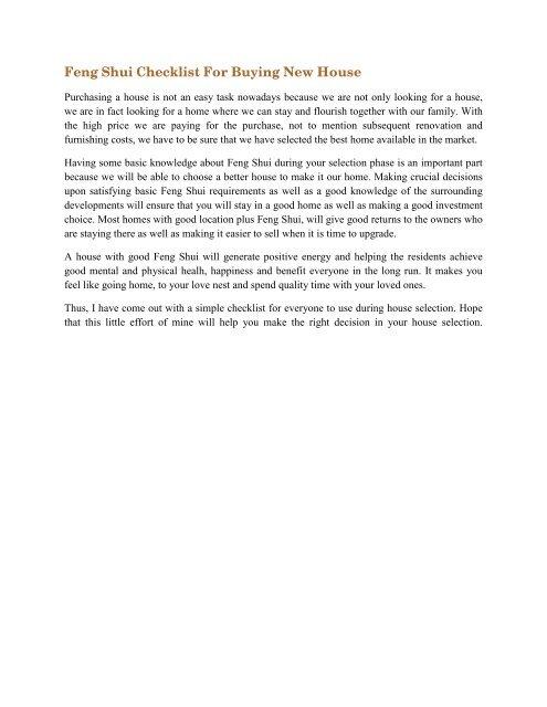 Feng Shui Checklist For Buying New House - Tian Lu Feng Shui