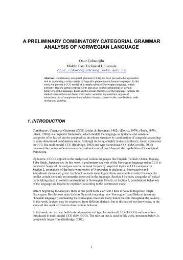 a preliminary combinatory categorial grammar analysis of ...