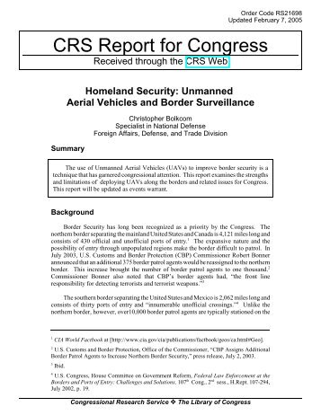 Unmanned Aerial Vehicles and Border Surveillance - Electronic ...