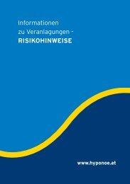 Informationen zu Veranlagungen - Risikohinweise (Fassung 2010)