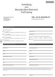 Anmeldung zum Mercedes-Benz Österreich ProfiTraining