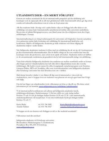 utlandsstudier – en merit för livet - Sahlgrenska akademin ...