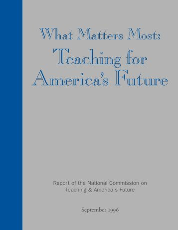 What Matters Most: - Teaching Point