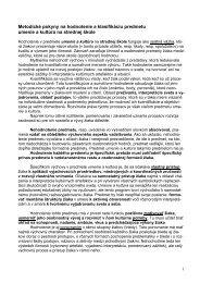 Metodické pokyny na hodnotenie a klasifikáciu predmetu umenie a ...