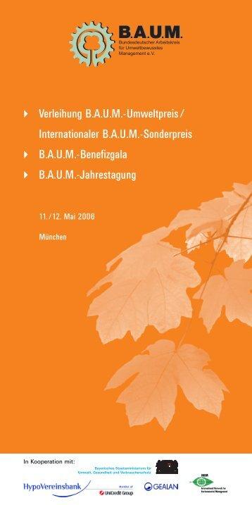 Verleihung B.A.U.M.-Umweltpreis / Internationaler B.A.U.M. ... - WECF
