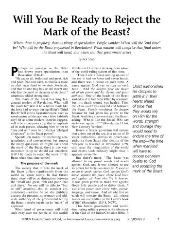 Will You Be Ready to Reject the Mark of the ... - United Church of God