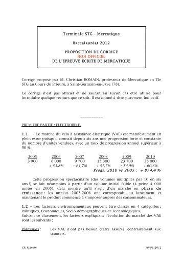 corrig u00e9 du bac stg - mercatique  marketing  2012