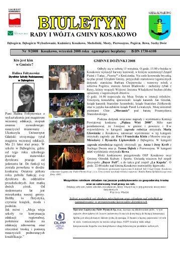 Biuletyn nr 09/2008 wrzesień (pdf-1 Mb) - Gmina Kosakowo