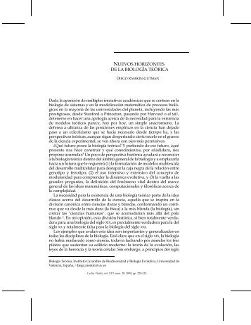 NUEVOS HORIZONTES DE LA BIOLOGÍA TEÓRICA - Ludus Vitalis