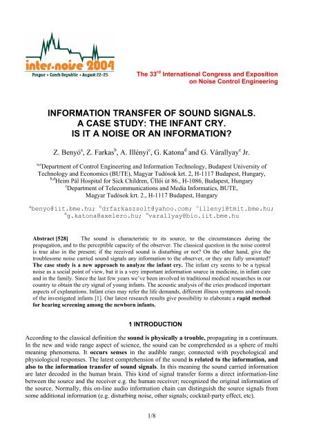 information transfer of sound signals. a case study  the infant cry. is it . d225f8f00c