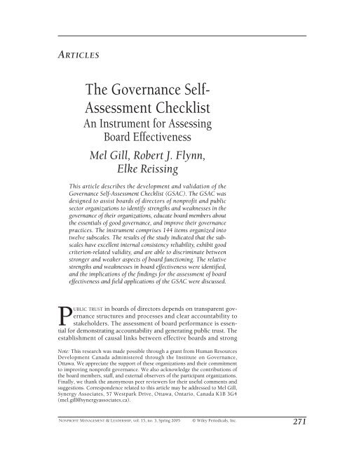 The governance self-assessment checklist: An instrument for ...