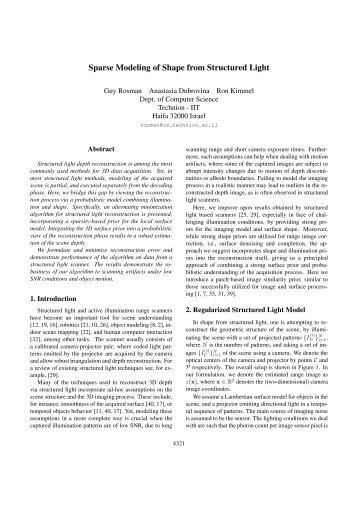 Sparse Modeling of Shape from Structured Light