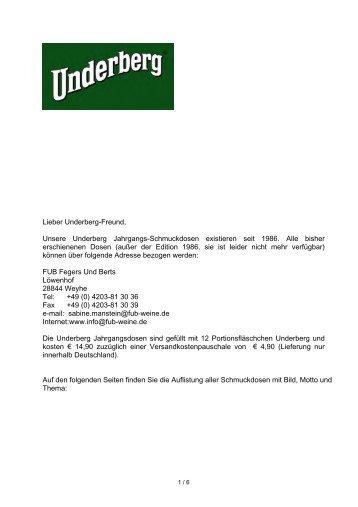 Lieber Underberg-Freund, Unsere Underberg Jahrgangs ...