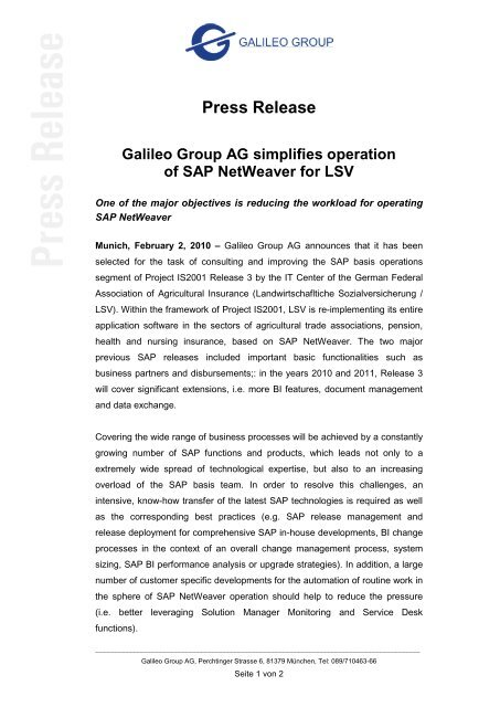 Press Release Galileo Group AG simplifies operation of SAP