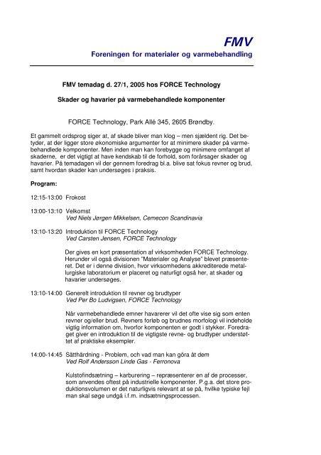 Foreningen for materialer og varmebehandling - FMV