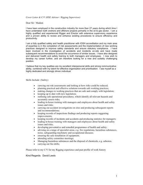 Cover Letter & C/V (HSE Adviser / Rigging Supervisor ...