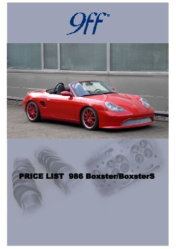 PRICE LIST 986 Boxster / Boxster S