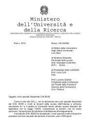 Ministero dell'Università e della Ricerca - Università degli Studi di ...