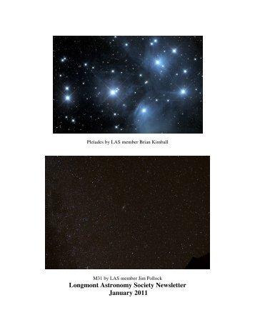 Jan Newsletter - Longmont Astronomical Society