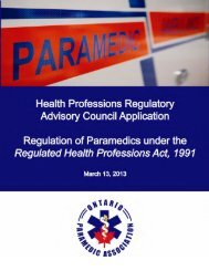 OPA application - Health Professions Regulatory Advisory Council