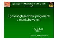 Egészségfejlesztési programok a munkahelyeken