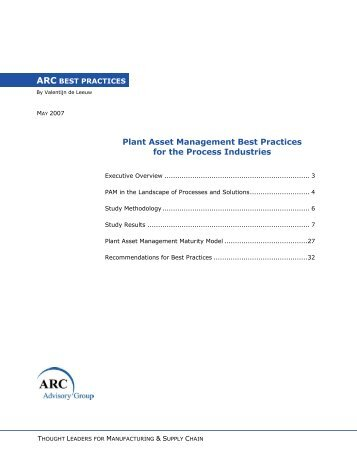 Plant Asset Management Best Practices for the Process Industries