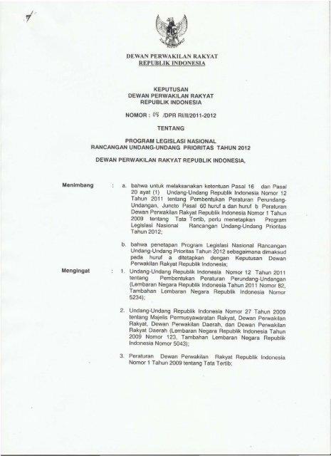Dewan Perwakilan Rakyat Republik Indonesia A Bahwa