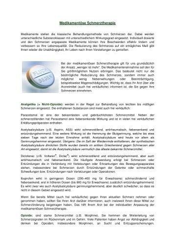 Medikamentöse Schmerztherapie Patienteninformation
