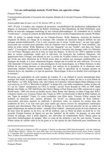 François Picard 1 World Music, une approche critique Vers une ...