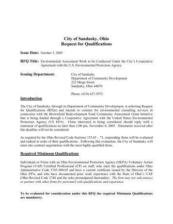 City of Sandusky, Ohio Request for Qualifications
