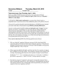 Genomics Midterm Thursday, March 25, 2010 - David Pollock